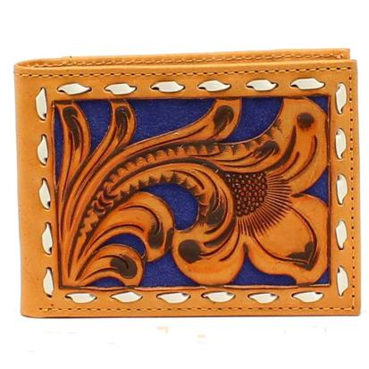 Nocona Mens Floral Tooled Blue Background Wallet