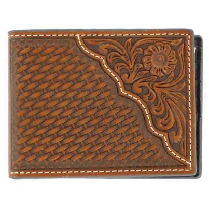 Nocona Mens Basket Weave Tooled Bifold Wallet