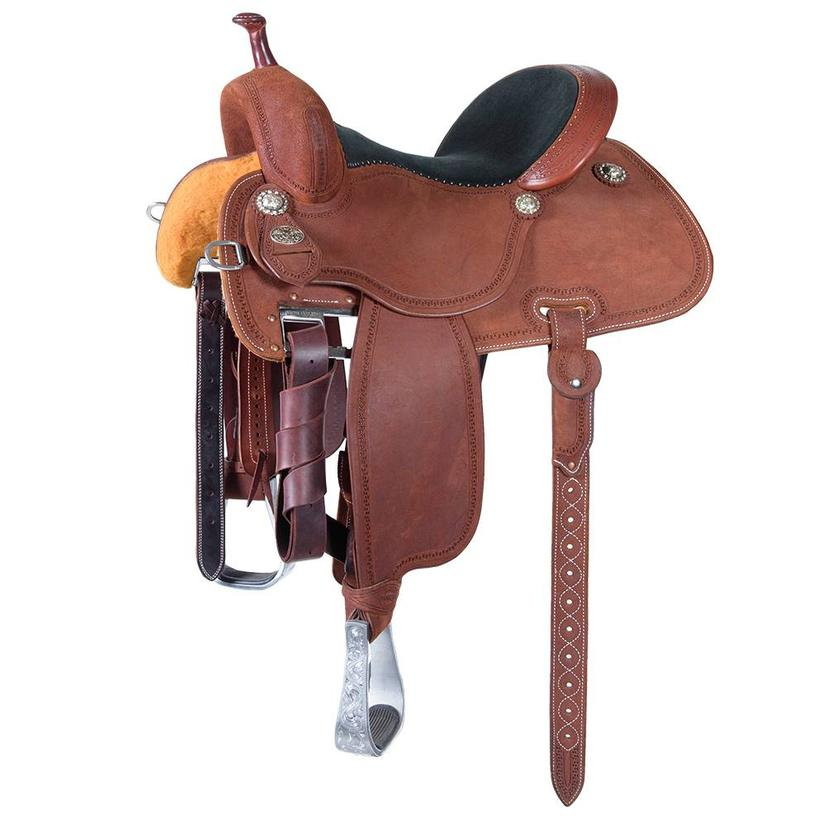 Martin Saddlery Crown C Barrel Saddle Roughout Carlos Border