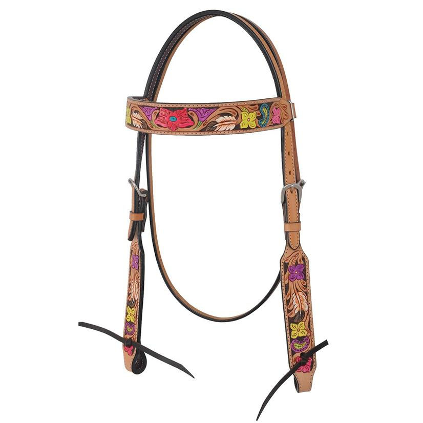 Rafter T Ranch Browband Headstall Hand Painted Floral Collection