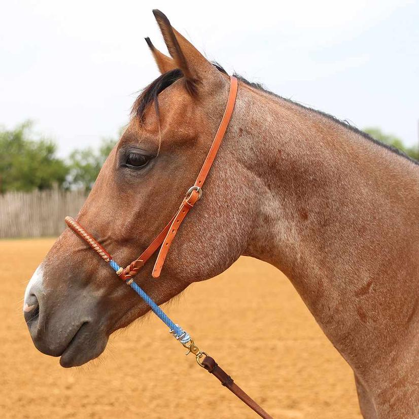 Top Hand Rope Leather Covered Single Rope Noseband - Green Or Blue