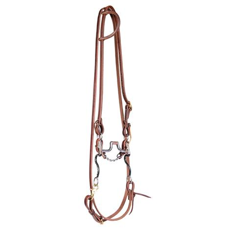 STT Bridle Set w/ Black Satin Hinged Port Bit with Roping Reins