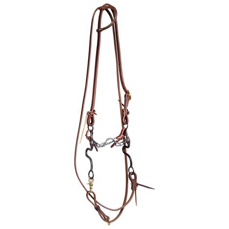 STT Bridle Set w/RB Antique Smooth Ported Chain Bit with Roping Reins