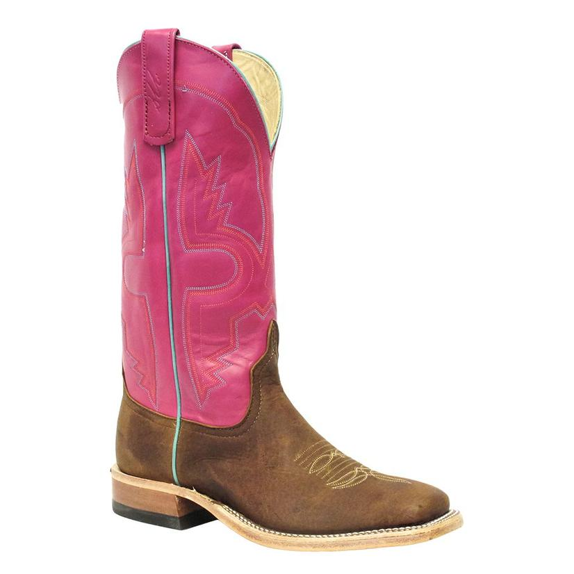 Anderson Bean Womens Tan Whitetail Pink Top Cowgirl Boots