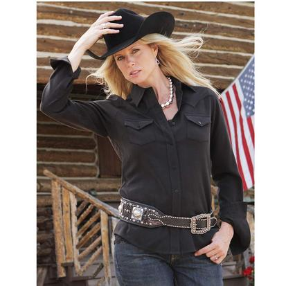 Miller Ranch Womens Western Long Sleeve Silk Black Shirt