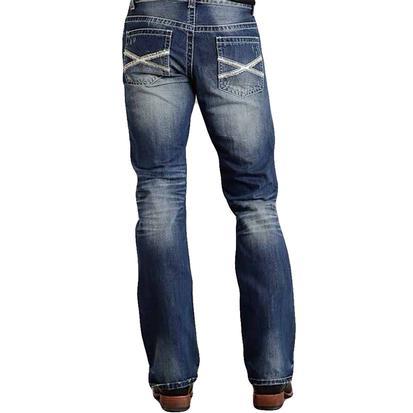 Stetson Mens Rocks Fit Low Rise Bootcut Medium Wash White X Pocket