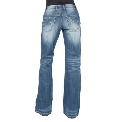 Roper Womens Medium Wash Sandblasted Trouser Jean