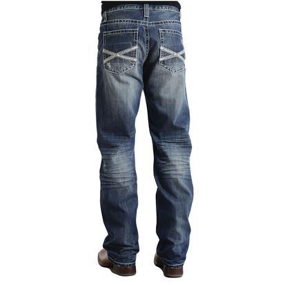 Stetson Mens Modern Fit Frayed X Stitch Jean