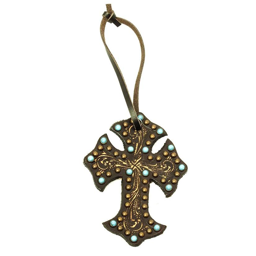 Leather Saddle Cross Floral Embossed