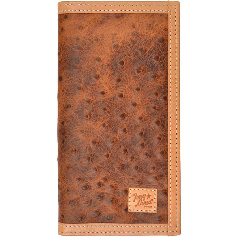 Tony Lama Ostrich Print Brown Rodeo Wallet