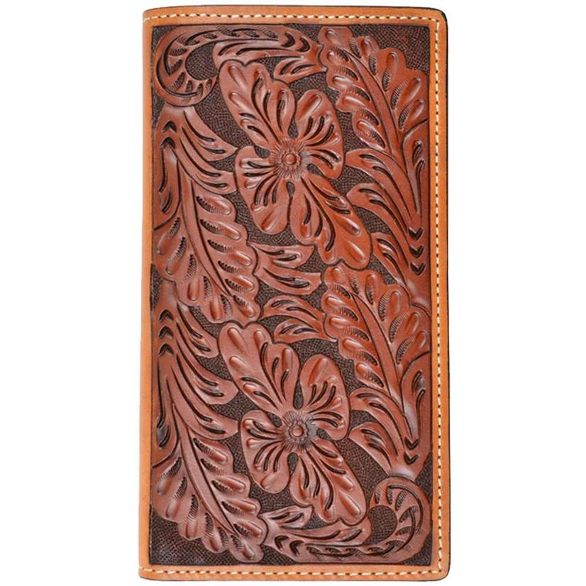 Tony Lama Tan Foral Tooled Western Rodeo Wallet