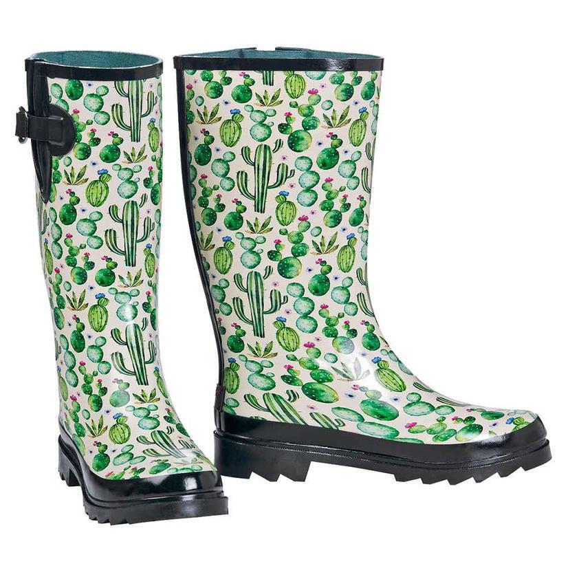 M & F Western Womens Cactus Print Rain Boots