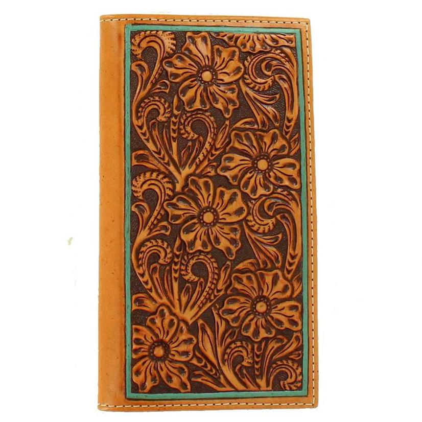 Floral Tooled Rodeo & Turquoise Wallet