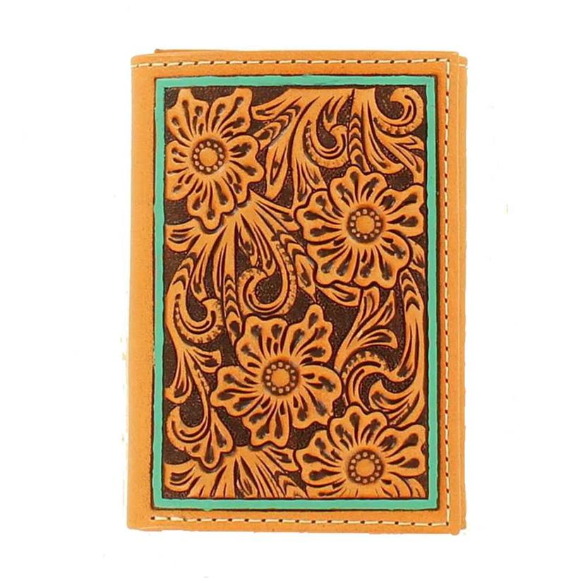 Ariat Mens Floral Tooled Trifold Turquoise Wallet