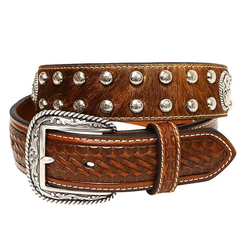 Ariat Men's 1.5in Brown Basketweave Leather & Calfhair Concho Belt -