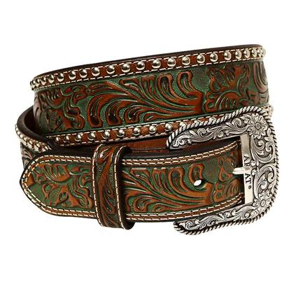 Ariat Mens Dark Brown and Green Leather Tooled Western Belt
