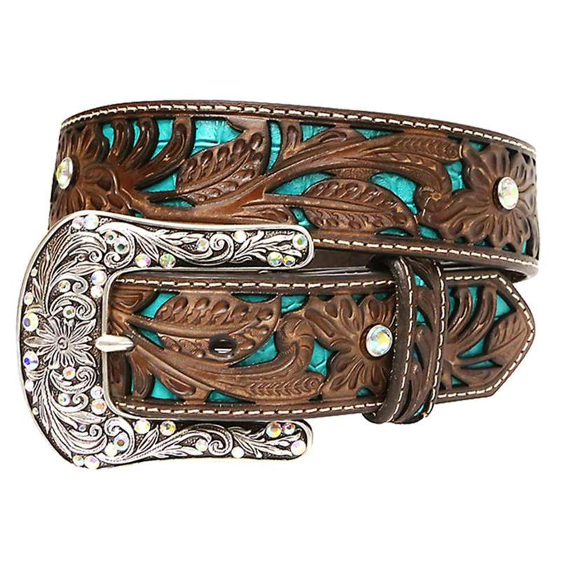 Ariat Womens Turquoise Inlay Tooled Floral Belt