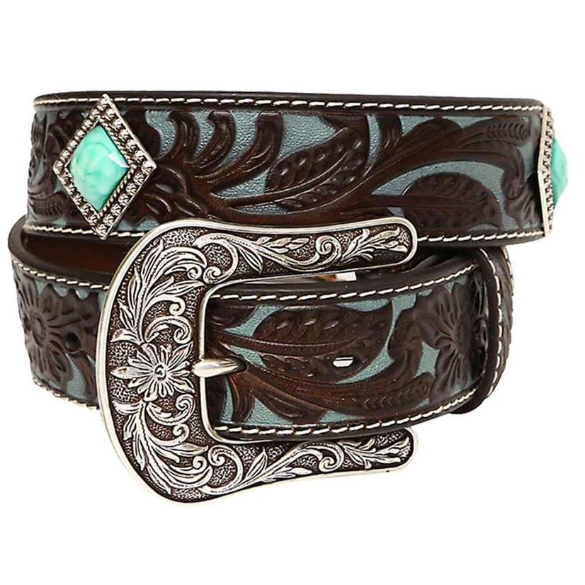 Ariat Womens 1.5in Brown And Turquoise Tool With Turquoise Concho Belt