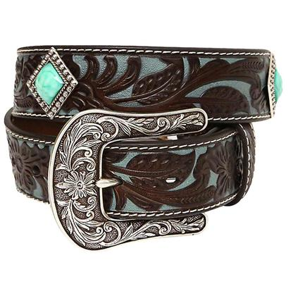 Ariat Women's 1.5in Brown and Turquoise Tool with Turquoise Concho Belt
