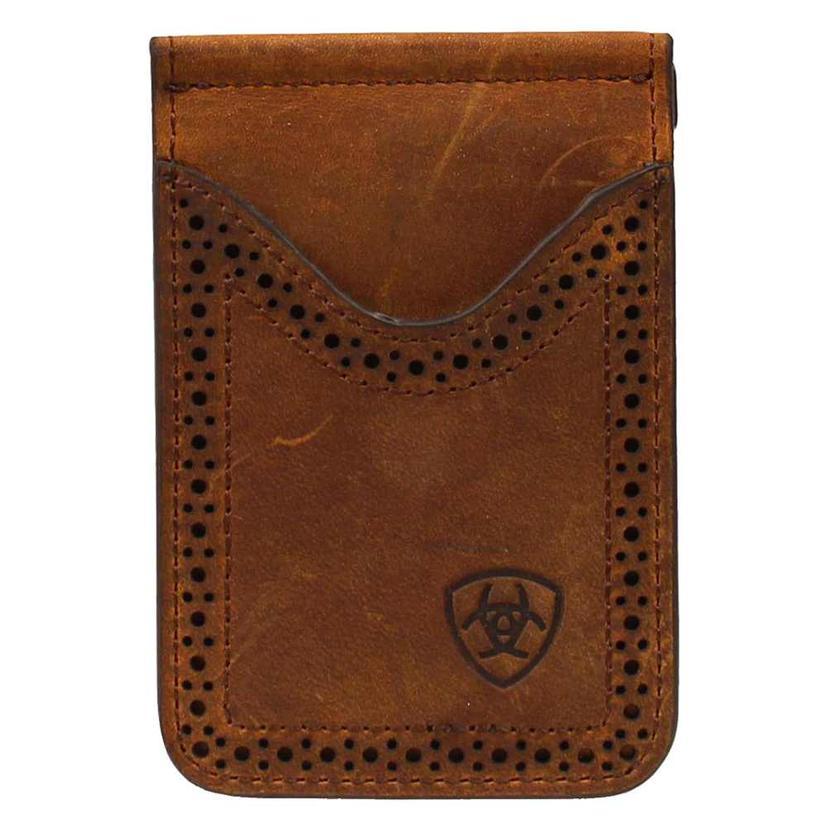 Ariat Mens Medium Brown Perforated Edge Leather Money Clip