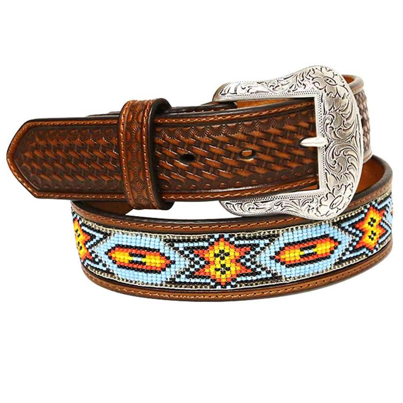 Nocona Mens 1.5in Brown Basket Weave Leather Blue Orange Bead Belt