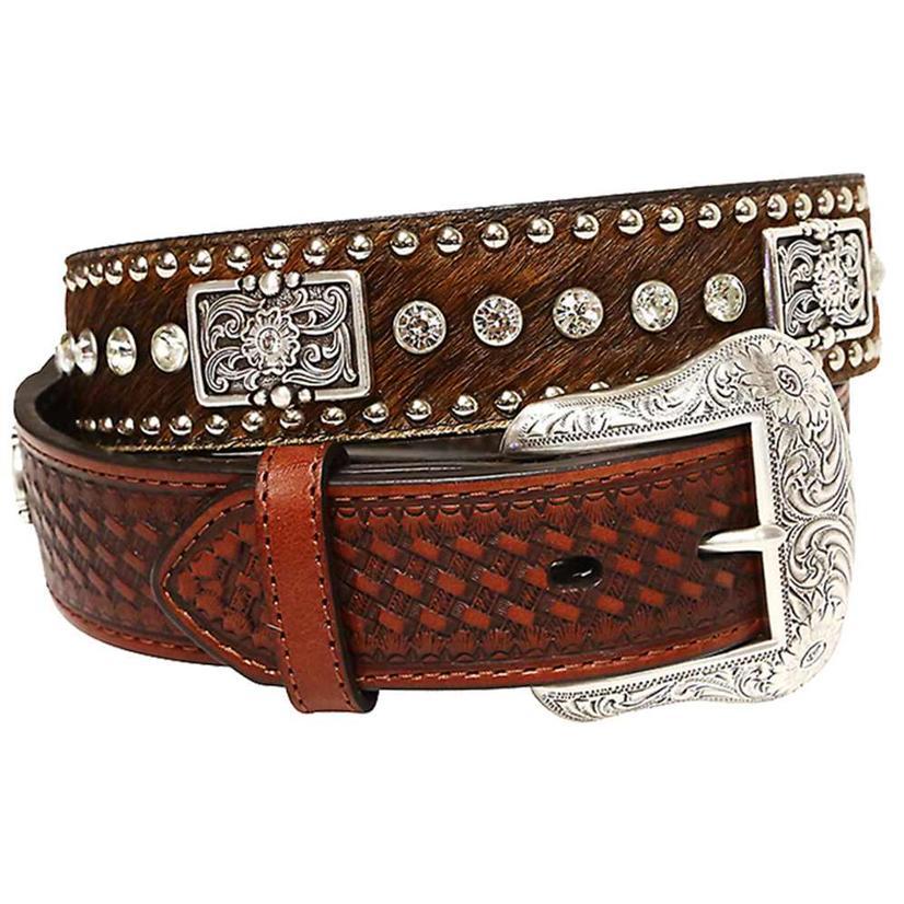 Nocona Men's Brown Calfhair Basketweave Silver Concho Stud Belt