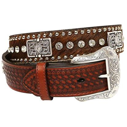 Nocona Mens Brown Calf Hair Basket Weave Silver Concho Stud Belt