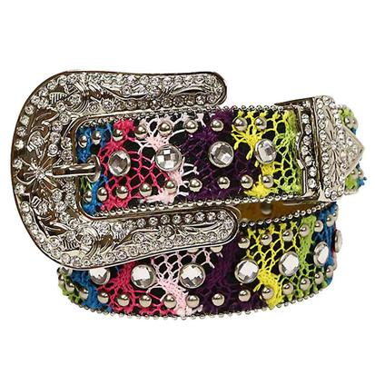 Nocona Kids Center Stone Rhinestone Multicolor Western Belt