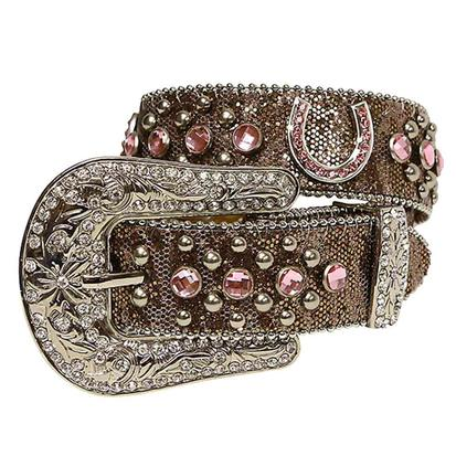 Nocona Kids Copper Brown Pink Horseshoe Rhinestone Belt