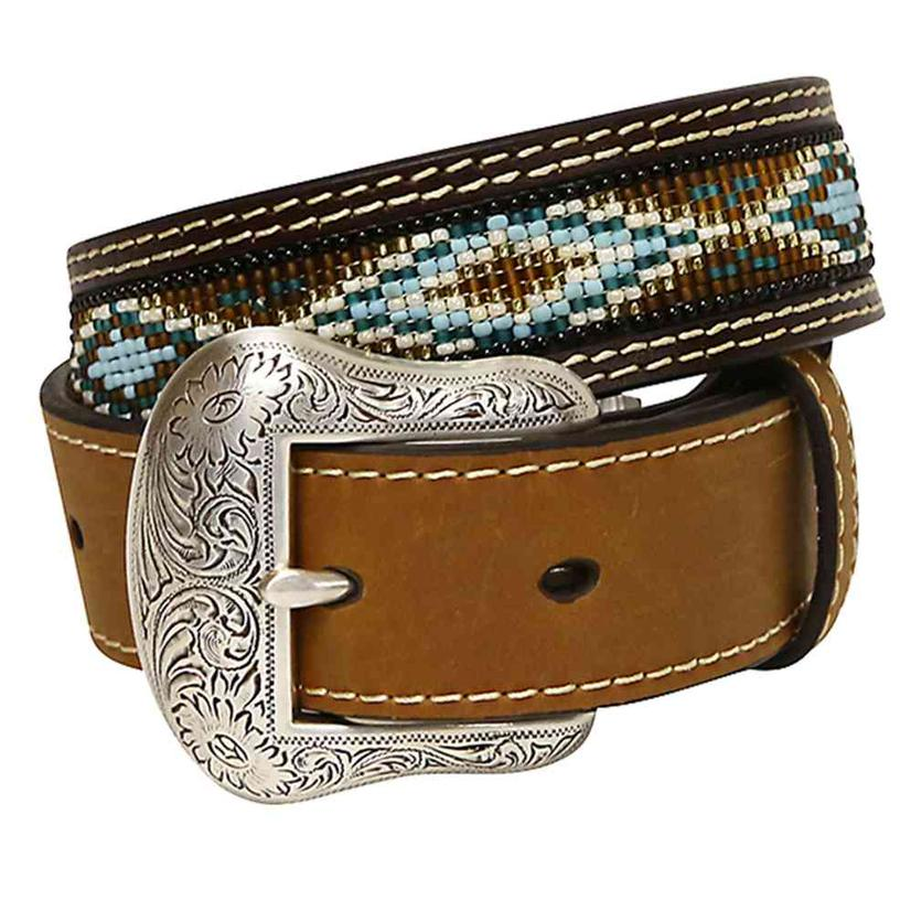 Nocona Kid's Brown Leather Turquoise Blue Brown Beaded Belt