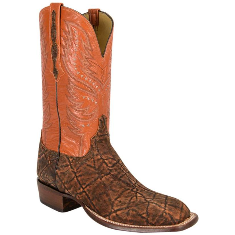 Lucchese Mens Elephant & Goat Leather Western Horseman Cowboy Boots