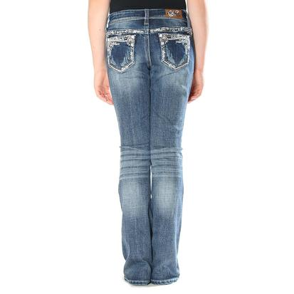 Grace In LA Girls Catkins Embroidered Jeans