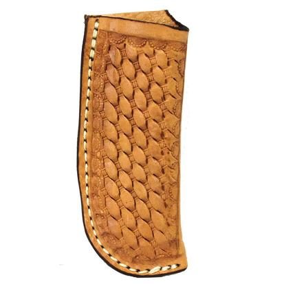 Basket Stamped Medium Oiled Leather Knife Sheath