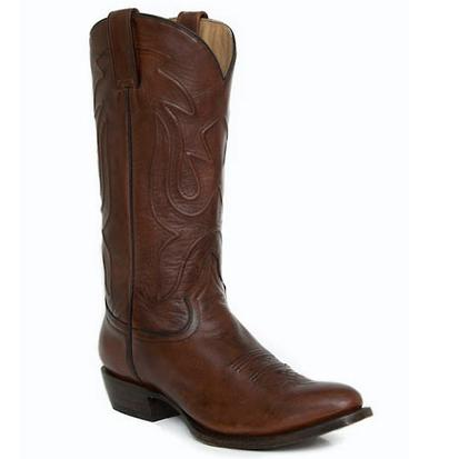 Stetson Mens Burnished Oak Stacked Heel Round Toe Boots