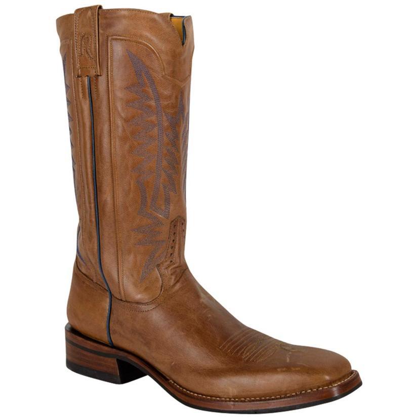 Rod Patrick Mens Crazy Goat Tan Cowboy Boots