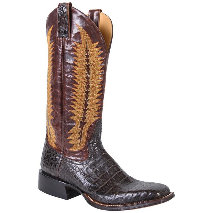 Rod Patrick Mens Cigar Caiman Belly Square Toe Cowboy Boot