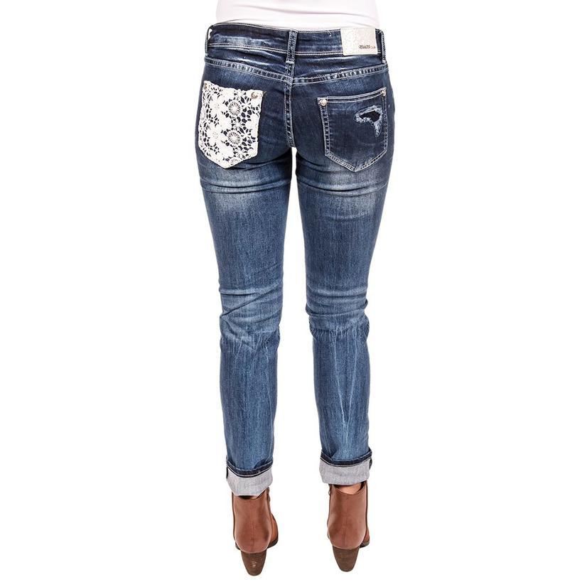 Grace In La Womens Distressed Flower Lace Skinny Jean
