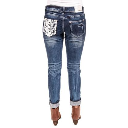 Grace In LA Womens Distressed Flower Lace Skinny Jean