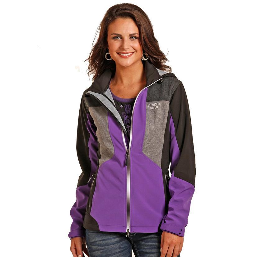 Powder River Womens Softshell Purple Black Jacket