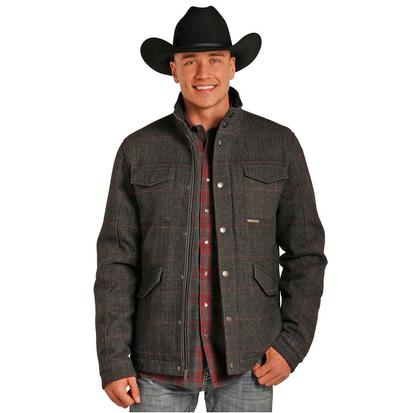 Powder River Mens Plaid Wool Coat
