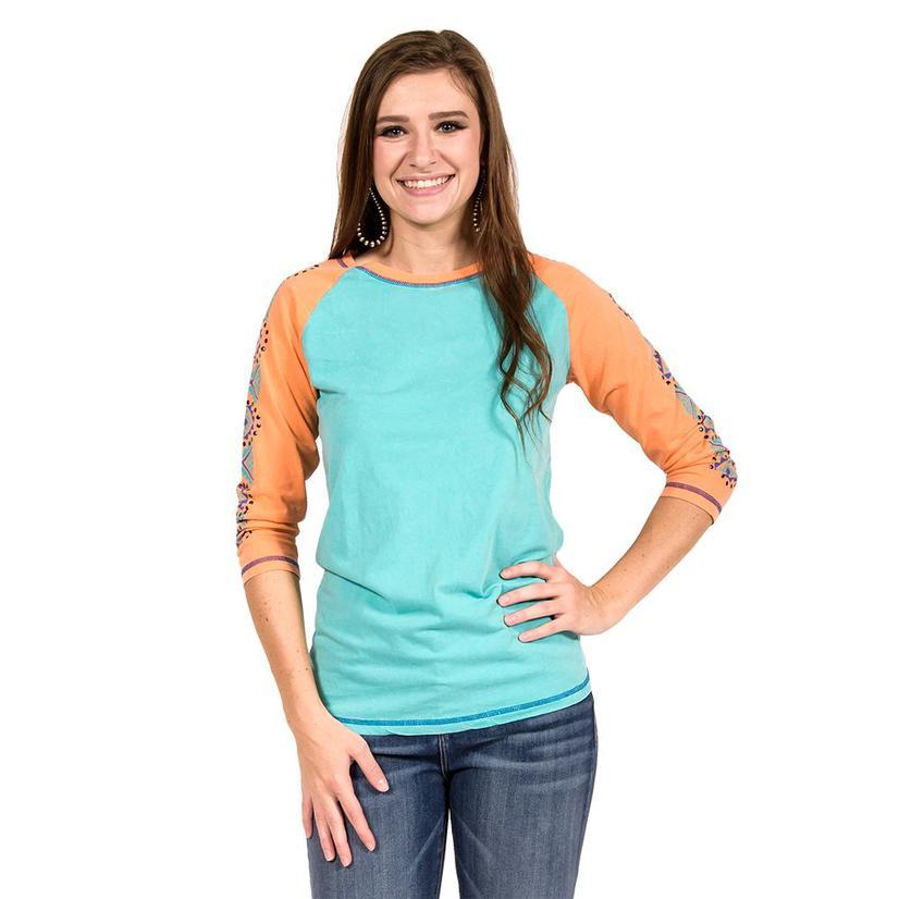 Cowgirl Tuff Womens Coral & Turquoise Aztec Baseball Sleeve Shirt