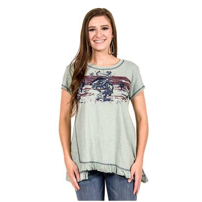 Double D Ranch Womens Ride 'Em Succulent Green Top