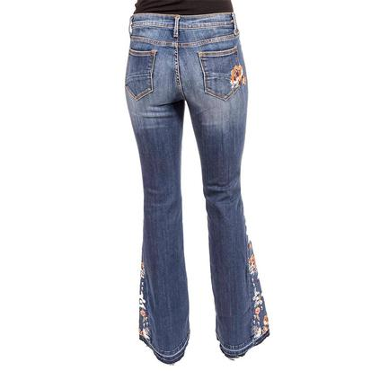 Driftwood Womens Farrah Flare Embroidered Red & Cream Floral Jeans