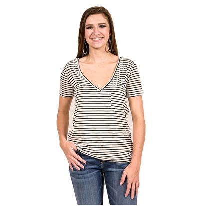 POL Womens Deep V Pocket Short Sleeve Tee
