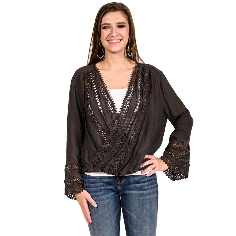 Charcoal Womens Belled Long Sleeve Cutout Top