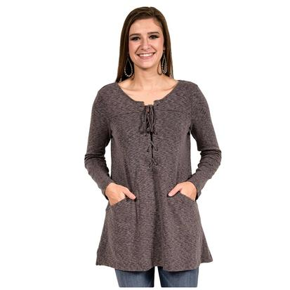 By Together Womens Charcoal Lace Up Knit Tunic