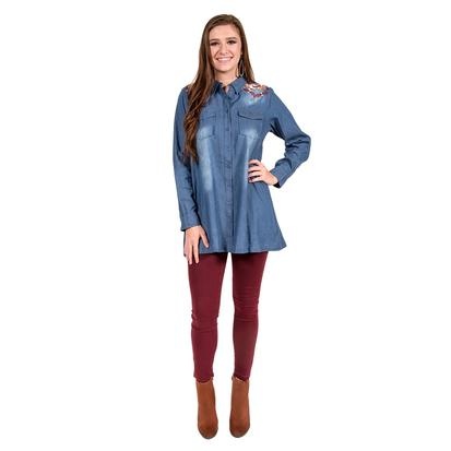 Denim Womens Button Up Embroidery Back Tunic