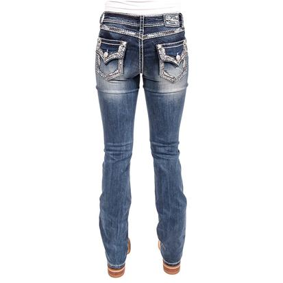 Grace In LA Womens Embroidered Flap Pocket Jeans