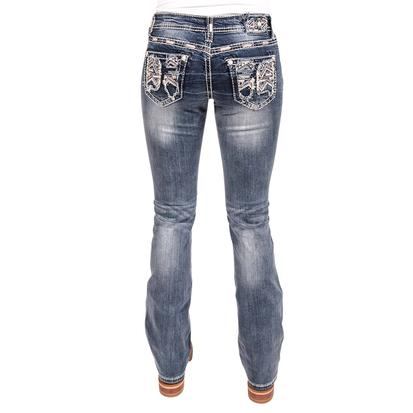 Grace In LA Womens Aztec Embroidered Crystal Jeans