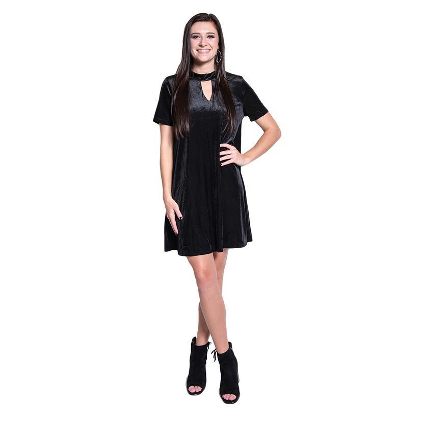 She + Sky Womens Black Velvet Striped Dress With Mock Keyhole Neck